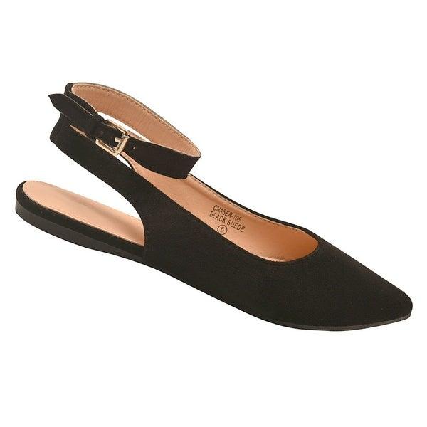 Shop Bella Marie Adult Black Pointed Toe Open Back Ankle