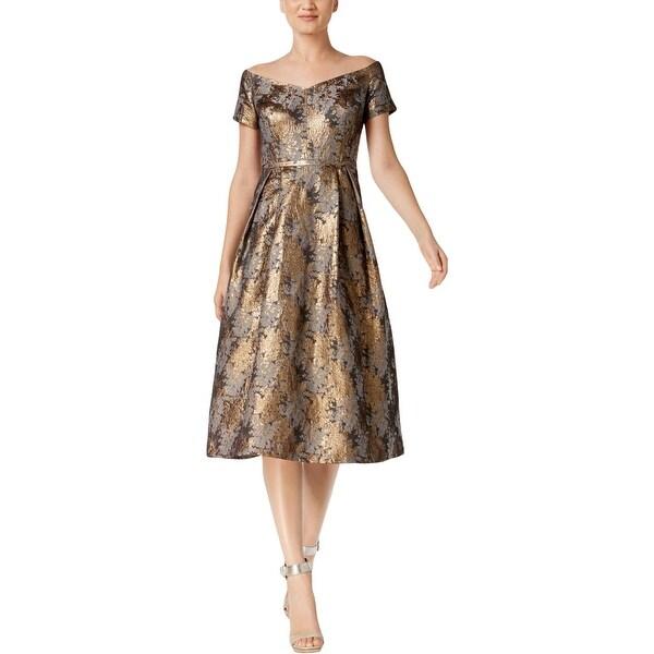 Shop Calvin Klein Womens Midi Dress Metallic Fit Amp Flare