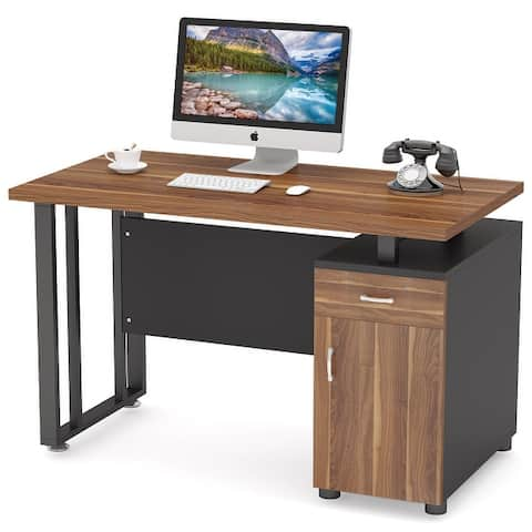 47 inch Modern Office Computer Desk with Drawers and Storage Cabinet