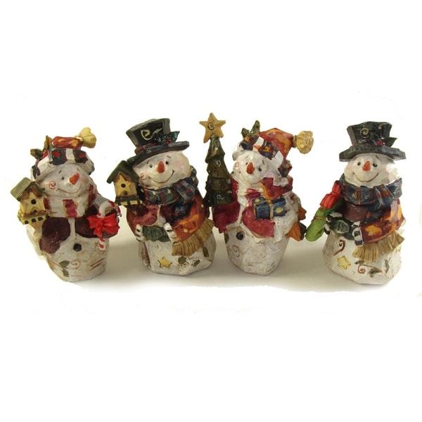 "Club Pack of 48 Folk Art Snowman Table Top Decorations 5"" - WHITE"