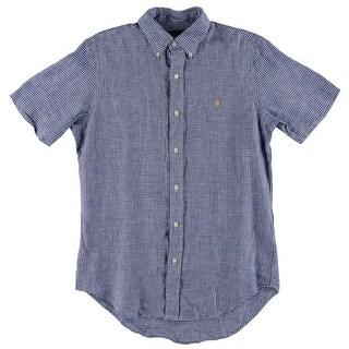 Ralph Lauren Mens Button-Down Shirt Checkered Short Sleeves - S
