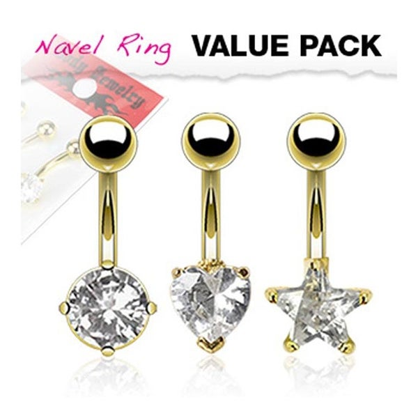 3 Pcs Pack of Assorted Shape Clear CZ Gold Plated Stainless Steel Prong-Set Navel Belly Button Ring