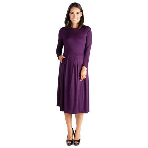 24seven Comfort Apparel Long Sleeve Maternity Midi Dress
