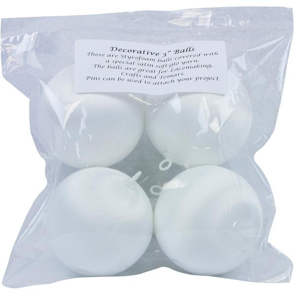 """Decorative Satin Covered Polystyrene Balls 3"""" 4/Pkg-White - White"""