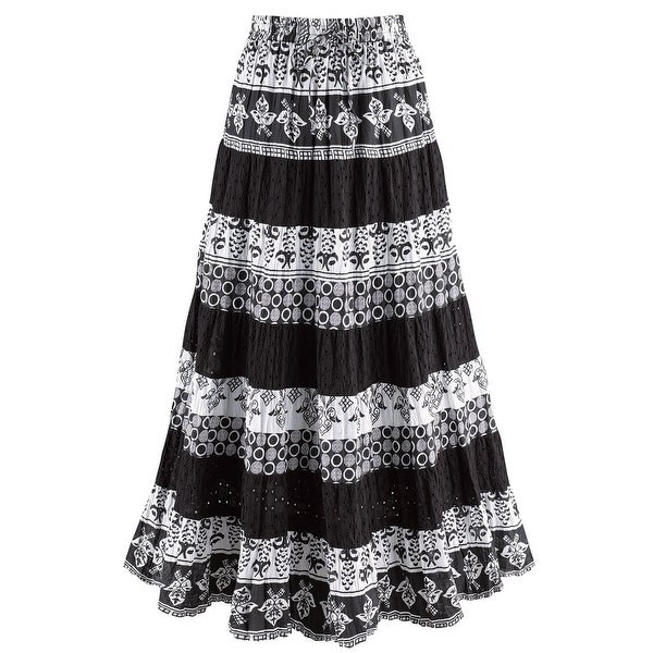 ff3956328 Shop Catalog Classics Women's Black & White Tiered Eyelet Skirt - Mixed  Patterns Maxi - On Sale - Free Shipping Today - Overstock - 22544074