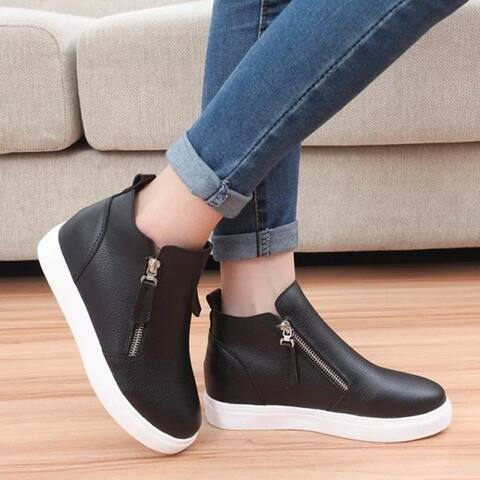 Korean Thick Sole Flat Shoes High Help Casual Shoes Yns664