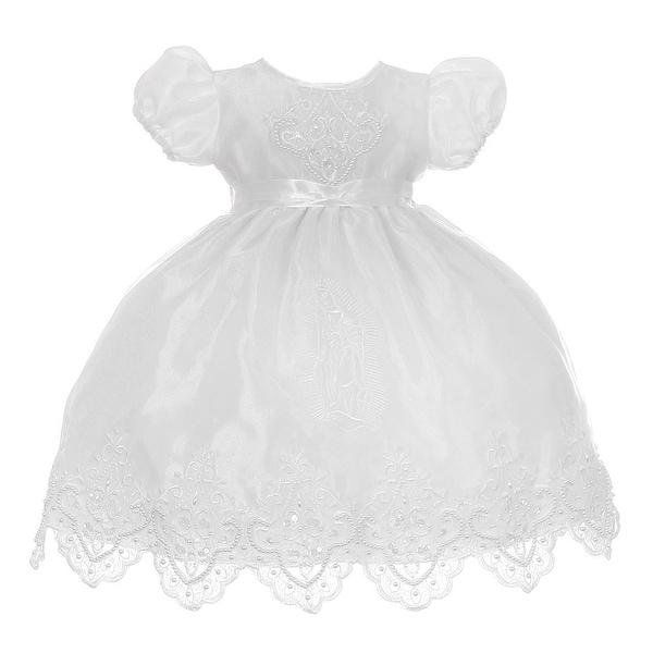 Baby Girls White Precious Virgin Mary Baptism Cape Cap Dress Set 6-12M