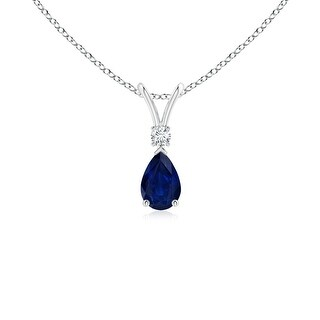 Pear Blue Sapphire Teardrop Pendant Necklace with Diamond - White
