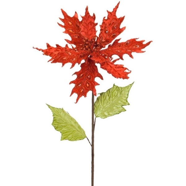 Club Pack of 12 Jeweled Red Pointsetta Leaf Stem 26""