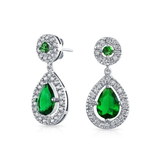 c1711b493d817 Classic Green CZ Halo Teardrop Pear Shaped Dangle Earrings For Women  Imitation Emerald Cubic Zirconia Silver Plate Brass