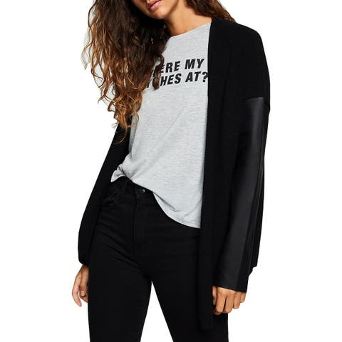 BCBGeneration Womens Cardigan Sweater Open Front Pleather Sleeves