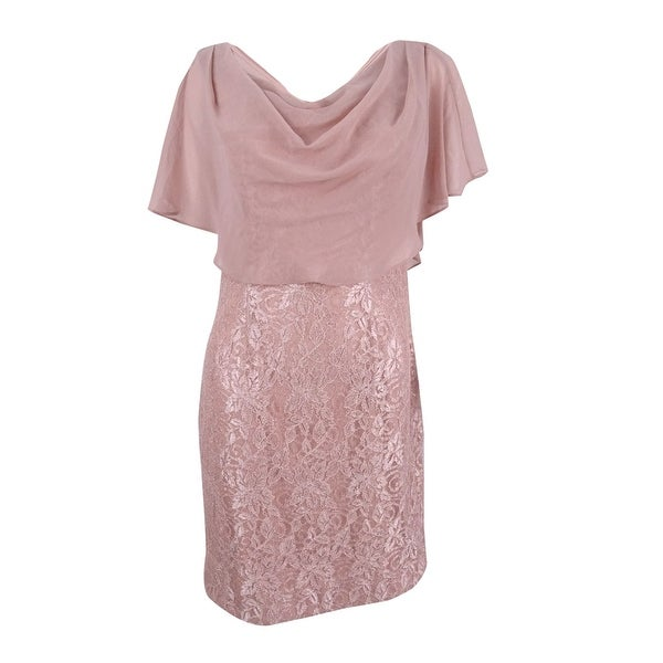 d6f1a94238bf3 Shop Jessica Howard Women's Draped Capelet Lace Dress - Rose Gold - 10 -  Free Shipping Today - Overstock - 22310427