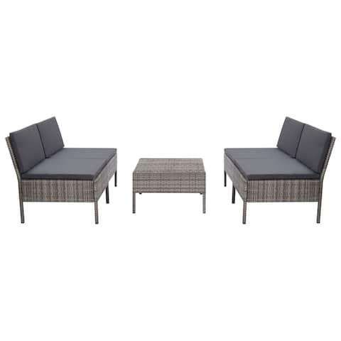 vidaXL 5 Piece Garden Sofa Set with Cushions Poly Rattan Gray