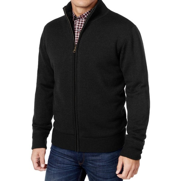 f4a66da2df1fdf Shop Weatherproof NEW Black Mens Medium M Full Zip Sherpa-Lined Sweater - Free  Shipping On Orders Over $45 - Overstock - 19862136