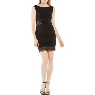 BCBG Max Azria Womens Renay Cocktail Dress Matte Jersey Ruched