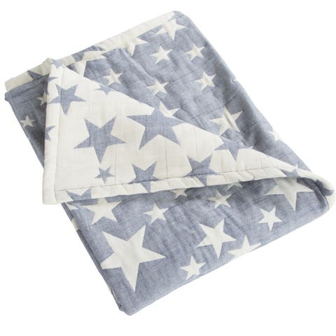 """NTBAY Super Soft 3 Layer Muslin 100% Muslin Cotton Baby Blanket, Warm and Cozy Blanket-Star & Owl & Carriage Pattern (30"""" x 40"""")"""