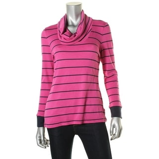 Tommy Hilfiger Womens Pullover Top Striped Cowl-Neck