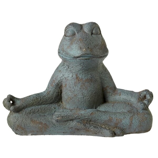 """12.37"""" Blue Distressed Finish Decorative Small Size Yoga Frog Table Piece"""