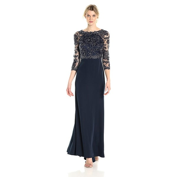 a4a7110ca1d Shop Tadashi Shoji 3 4 Sleeve Embroidered Lace and Sequin Evening Gown Dress  Navy Silver - 12 - Free Shipping Today - Overstock - 22106893