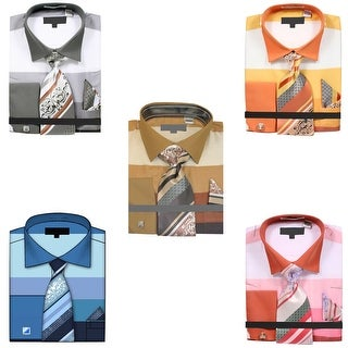 Men's Wide Striped Pattern Dress Shirt with Tie Handkerchief and Cufflinks