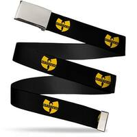 "Blank Chrome 1.0"" Buckle Wu Tang Logo Repeat Black Gold Webbing Web Belt 1.0"" Wide"