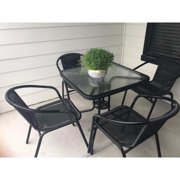 c0edbfbfc4 Shop 28-inch Square Glass Metal Table with Rattan Edging and 2 Rattan Stack  Chairs - Free Shipping Today - Overstock - 12117040