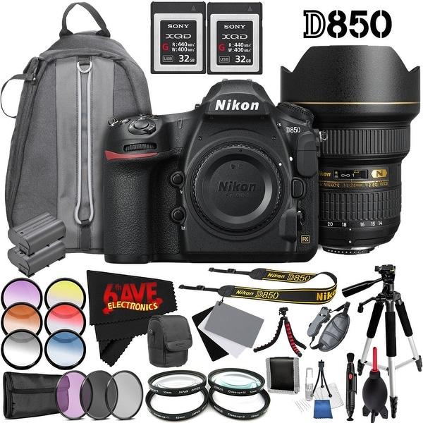 Nikon D850 DSLR Camera (Body Only) 1585 International Model + Nikon AF-S NIKKOR 14-24mm f/2.8G ED Lens Bundle