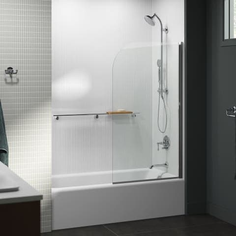 """Kohler K-707205-L Aerie 32"""" Bath Screen with CleanCoat and Curved Corner"""
