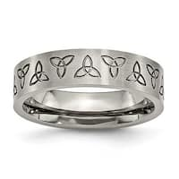 Chisel Titanium Engraved Trinity Symbol Satin 6mm Band