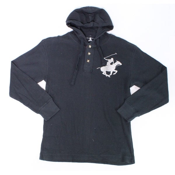 d85b78625 Shop Beverly Hills Polo Club Black Mens Size 2XL Waffle Hooded Sweater -  Free Shipping On Orders Over $45 - Overstock - 28331584