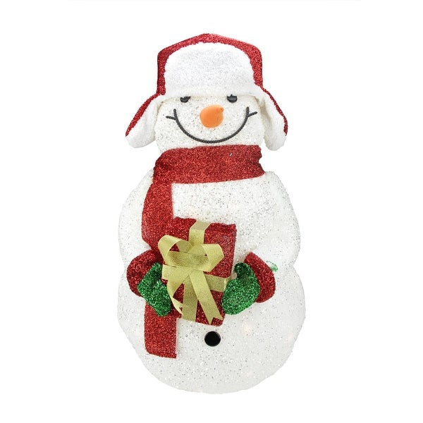 "28.5"" Lighted White Plush Glittered Tinsel Snowman with Gift Christmas Yard Art Decoration"