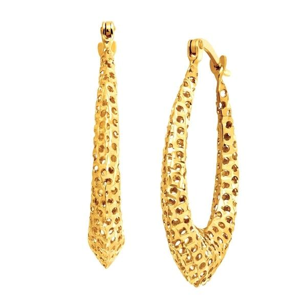 Just Gold Puffed Teardrop Hoop Earrings in 14K Gold