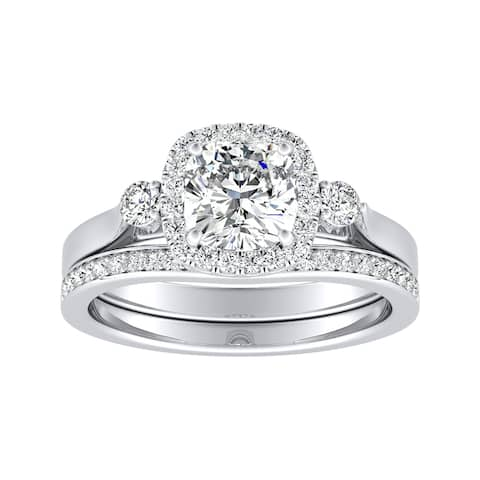 Auriya 1/2ct Cushion-cut Moissanite and Diamond Engagement Ring Set 14k Gold 2/5ct TDW