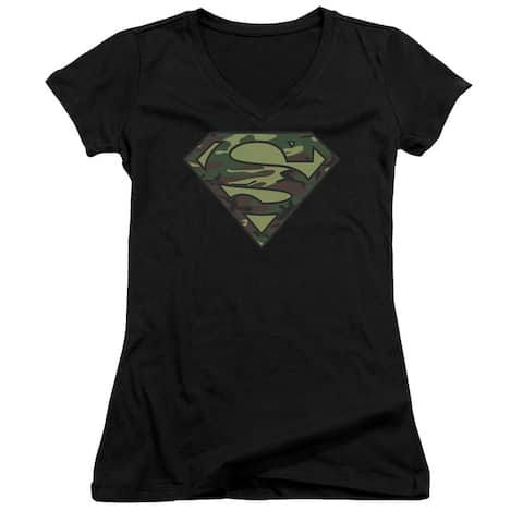 Superman Camo Logo Juniors V-Neck Shirt