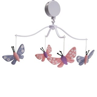 Bedtime Originals Pink Butterfly Meadow Musical Baby Crib Mobile