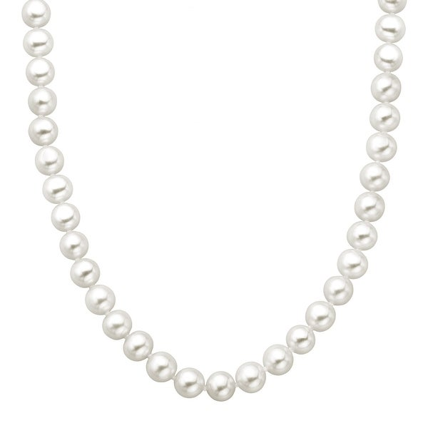 9 mm Freshwater Pearl Strand Necklace with 14K Gold Clasp
