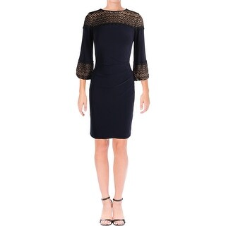 Lauren Ralph Lauren Womens Party Dress Lace Bishop Sleeves