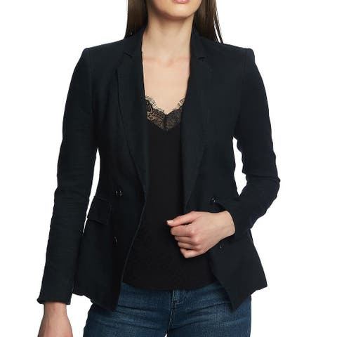1. State Womens Blazer Black Size 4 Double Breasted Asymmetrical