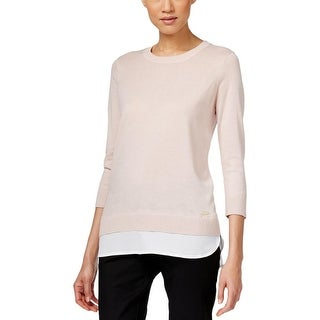 Calvin Klein Womens Pullover Sweater Ribbed Trim Mixed Media