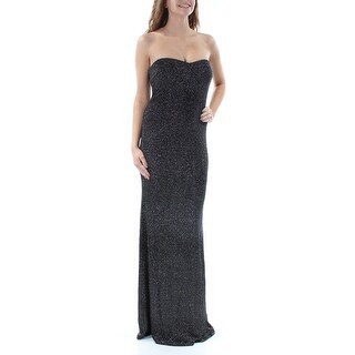 Womens Black Sleeveless Full Length Sheath Prom Dress Size: 1