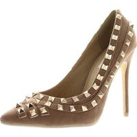 Bella Luna Womens Gianina Gold Studded Fashion Pumps Shoes