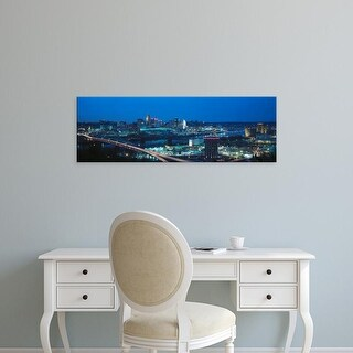 Easy Art Prints Panoramic Image 'Cincinnati skyline and lights, Ohio and Ohio River from Covington, KY' Canvas Art