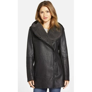 Sam Edelman Women's Sydney Hooded Faux Shearling Black Medium Jacket