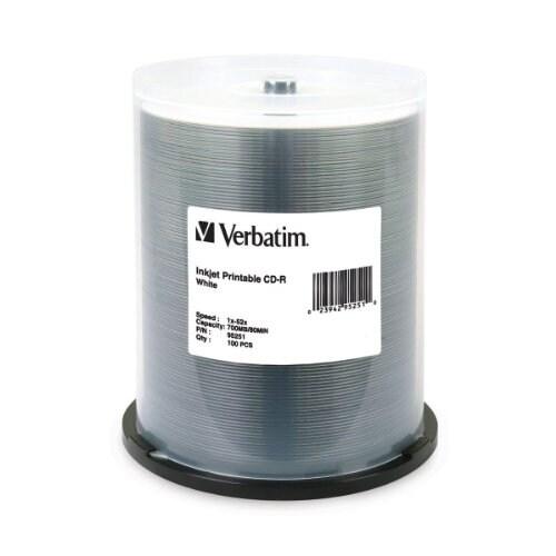 """Verbatim DM4838w Verbatim 700 MB 52x 80 Minute White Inkjet Printable Recordable Disc CD-R 100-Disc Spindle 95251"""
