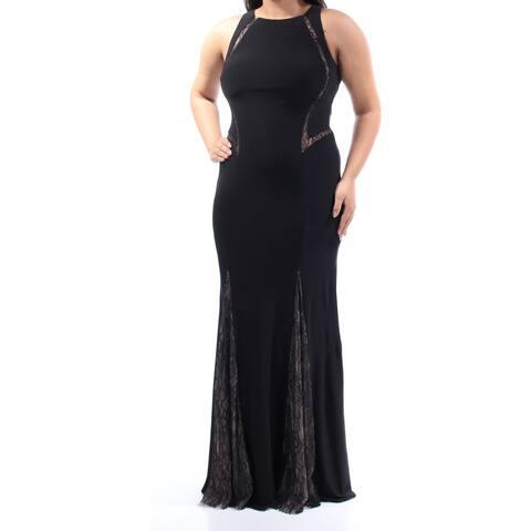 2aba77e08bb XSCAPE Womens Black Lace Sleeveless Jewel Neck Full Length Mermaid Evening  Dress Size  12