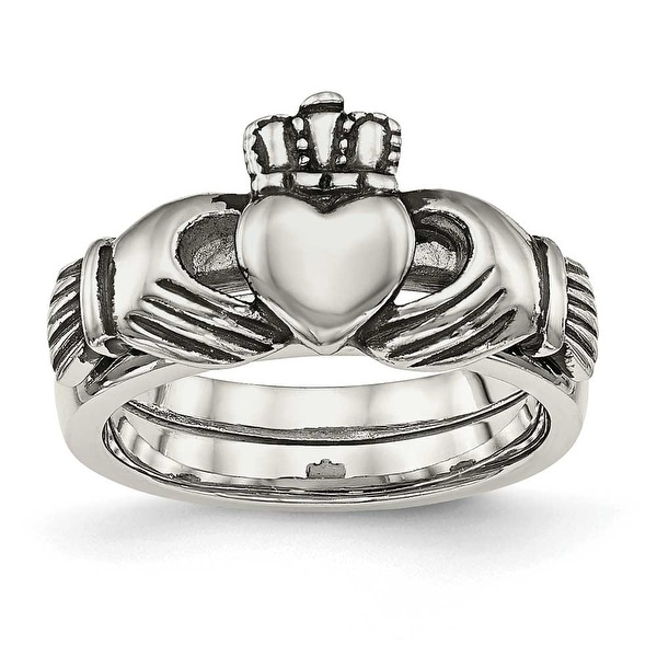 Stainless Steel Love, Loyalty, Friendship Claddagh Double Hinged Ring
