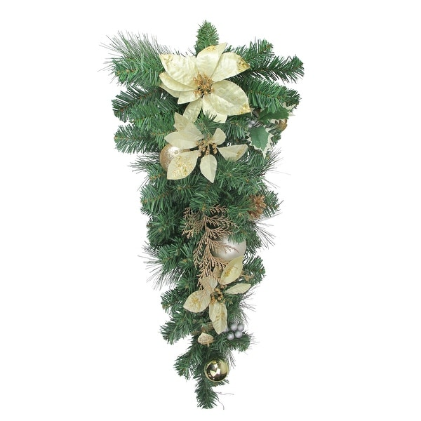 """34"""" Gold Poinsettia and Pinecone Artificial Christmas Teardrop Swag - Unlit - green"""