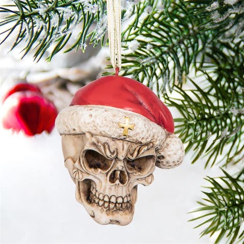 Design Toscano Skelly Claus II Gothic Skull Christmas Tree Ornament, 2 Inch, Single,QS23709