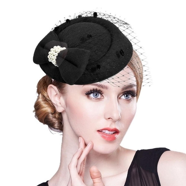 Vintage Solid Color Mesh Faux Pearl Women Fascinator Hair Clip Party Derby Hat. Opens flyout.