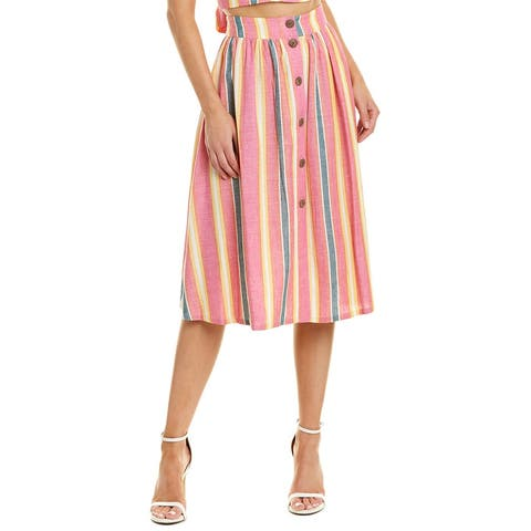 Bcbgeneration Button Front Linen-Blend A-Line Skirt